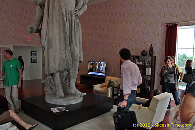 With funding by New York City's Public Art Fund, artist Tatzu Nishi built a living room on a 60' platform at the top of the granite column supporting Gaetano Russo's 1892 12' statue of Christopher Columbus allowing visitors a close-up intimate experience with the sculpture.