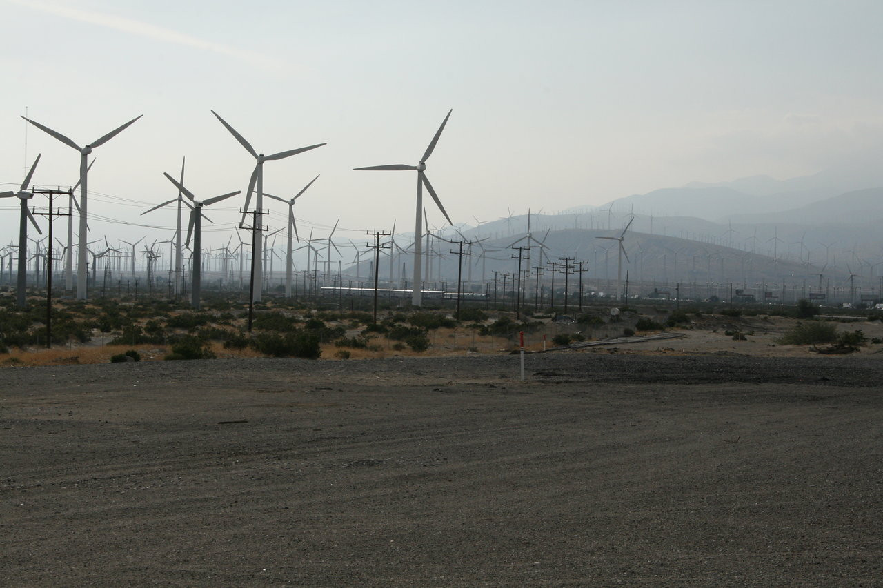 Wind turbines at Amtrak Station, Palm Springs, California
