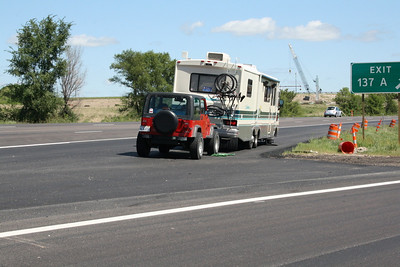 Tire blowout at exit 137A on I-80 near Des Moines, Iowa