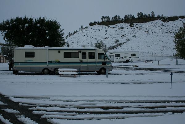 Snow at Mountain Range RV Park, Columbus, Montana