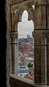 Looking through Belfort Tower. Ghent, Belgium