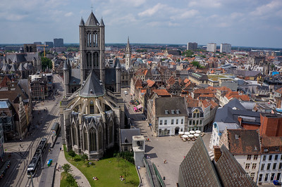 Looking towards St. NIcholas' Church from atop Belfort. Ghent, Belgium