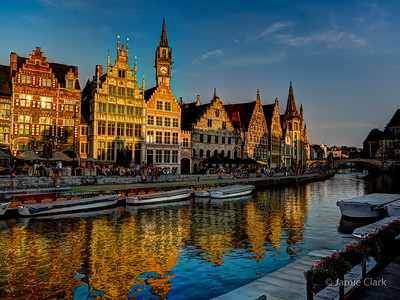 Sunset on the canal. Ghent, Belgium