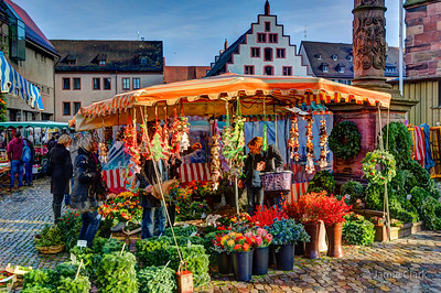 Christmas market on Muensterplaz. Freiburg, Germany