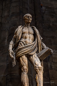Statue of Saint Bartholomew, with his own skin, by Marco d'Agrate, 1562, Duomo, Milan, Italy, October 2017