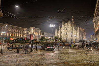 Duomo at night, Milan, Italy, October 2017