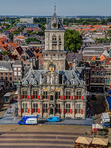 Stadhuis (City Hall). Still from really high up. Gosh what a nice view.  Too bad we really need to go now! Delft, Netherlands