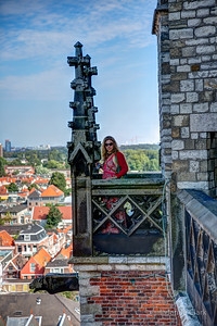 Rember me saying the tower looked a little crooked? Not so bad from this perspective. Just keep looking at the horizon, and all is well. 376 steps above the ground (or 532 steps from the moon). New Church. Delft, Netherlands.
