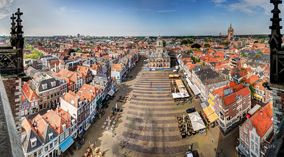 Panorma of Delft Grote Markt, Look at the time! We need to check out really soon. Better get going! Top of New Church. Delft, Netherlands