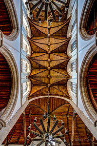 A wooden cieling! Not the original considering the age of the church and all the devestating fires throughout Delft's history. Still neat to look at. Old church. Delft, Netherlands