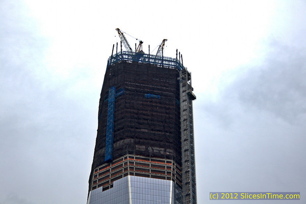 Progress of One World Trade Center building on March 24, 2012. Only a few more floors to go before topping off.
