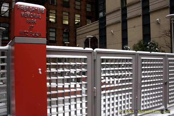 First Snow of the year, January 21, 2011, New York, NY - Firefighters Park, 235 West 48th Street