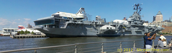 Space Shuttle Enterprise on the deck on the USS Intrepid aircraft carrier, now a museum in New York City