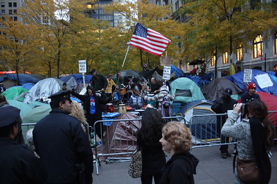 The epicenter of the Occupy Wall Street movement on Sunday, November 13, 2011, two days before it was raided by the NYPD.