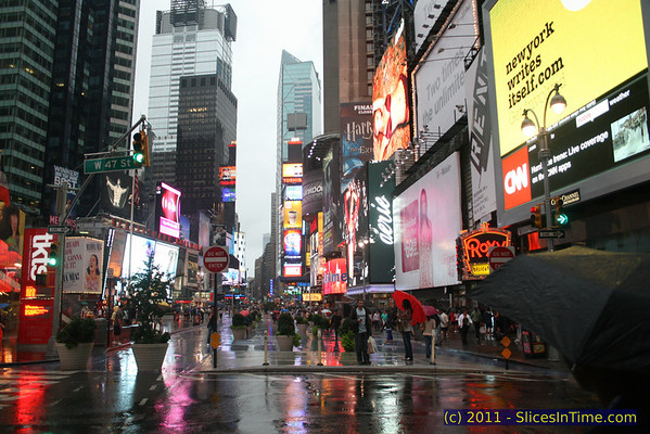 Times Square a few hours before Hurricane Irene hit, August 27, 2011