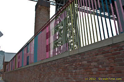 Walk over the Williamsburg Bridge - New York, NY - April 14, 2012 - Knit bombing under the bridge.