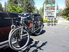 Had a VERY busy but FUN weekend.  After a 6 hour drive to get there my friend Rick suggested going on a mtn bike ride down Snow Summit (a ski mountain).  Our bikes our loaded a ready to go!