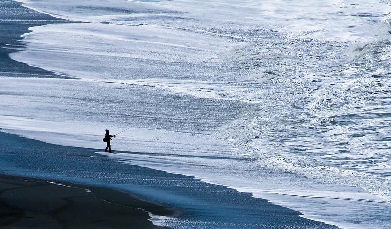 Lone fisherman, Pacifica, California