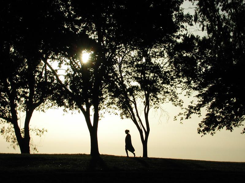 Lone woman walking, Lake Yosemite, California