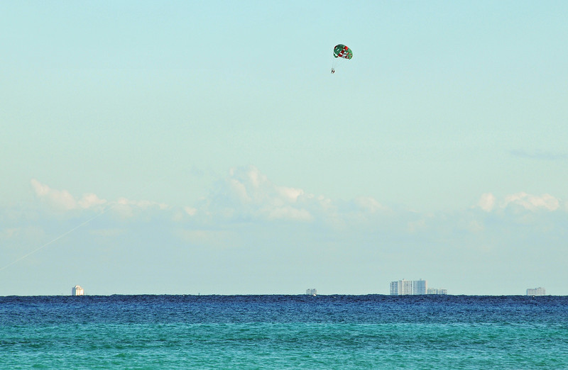 View of high rises on Cozumel from Playa del Carmen - November 2012