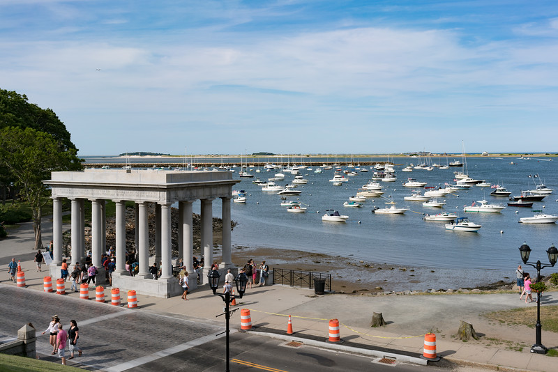 Plymouth Rock overlooking the harbor