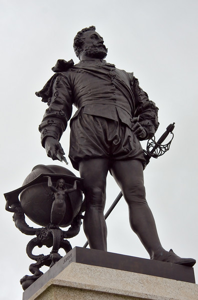 Devon native, Sir Francis Drake, first to circumnavigate the globe and commander of the English fleet at the defeat of the Spanish Armada, 1588.