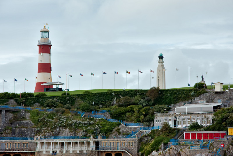 Sea front below the Hoe -- with Smeaton's Tower and the War Memorial