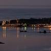 Kolonia's harbor at dusk.