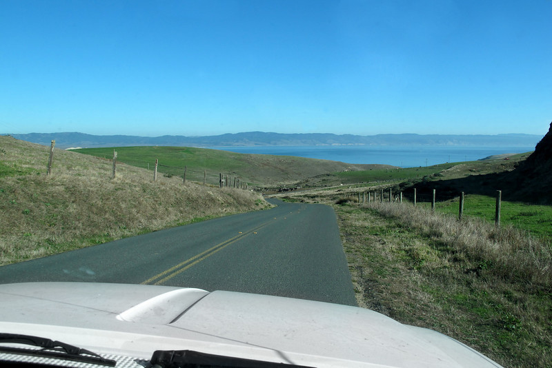 Driving to the elephant seal overlook.