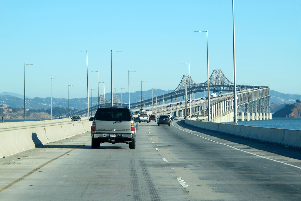 Heading to the airport for the flight home. I think that this is the Richmond San Rafael bridge.