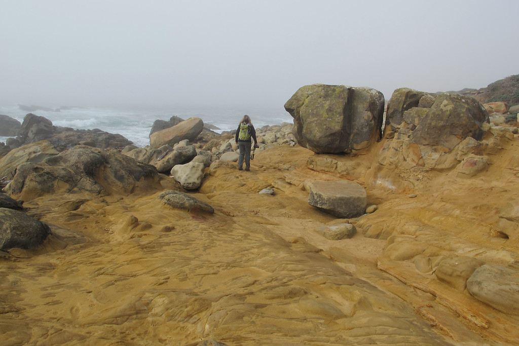 Hiking along the shore, nice looking rocks in the area