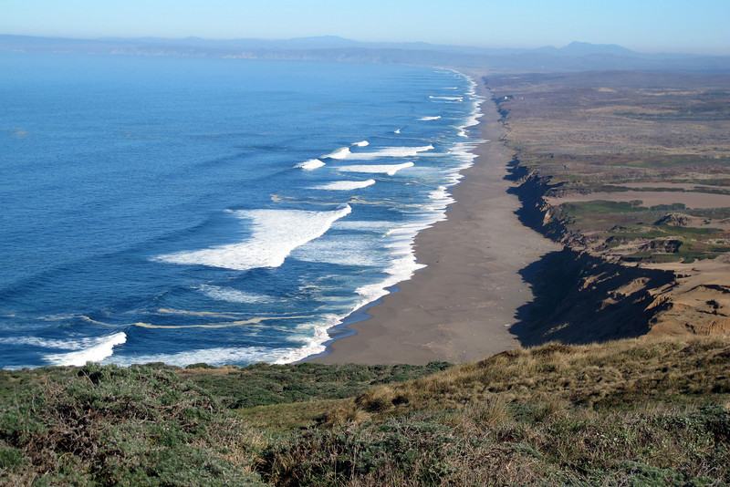 Looking north at the shore of Point Reyes Beach near the start of the hike.