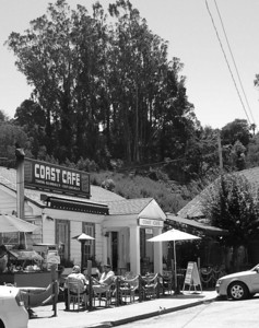 The only cafe along the small street in Bolinas.