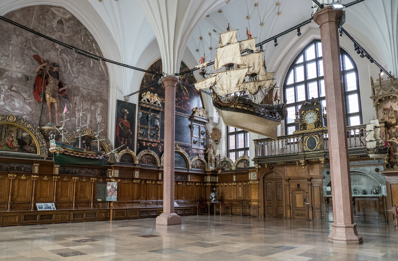 Artus Court Interior with Ships Cannons that Fired