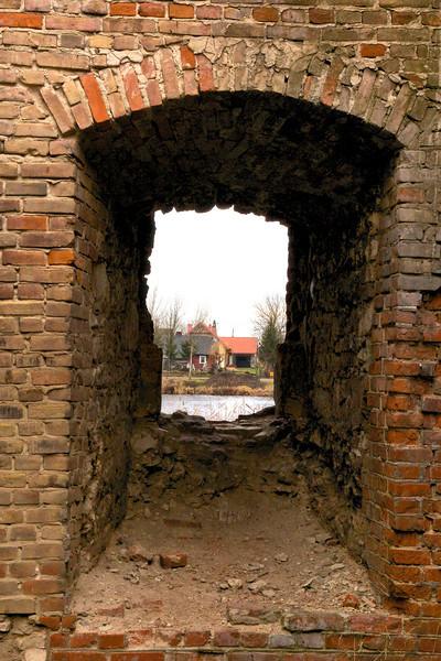 Inside Castle Krupem, overlooking the river.