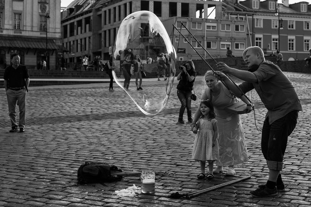 Blowing bubbles, Warsaw, Poland