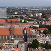 Looking East from the Bell tower on the Church in Old Town, Gdansk, Poland.