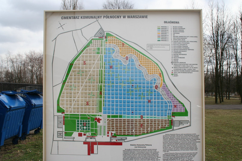 Plan of Warsaw cemetery