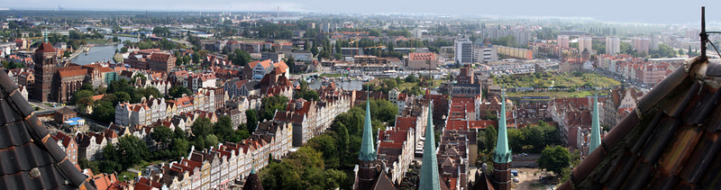 Looking North from the Bell tower on the Church in Old Town, Gdansk, Poland.