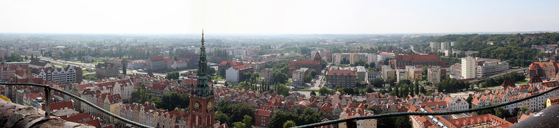 Looking South from the Bell tower on the Church in Old Town, Gdansk, Poland.