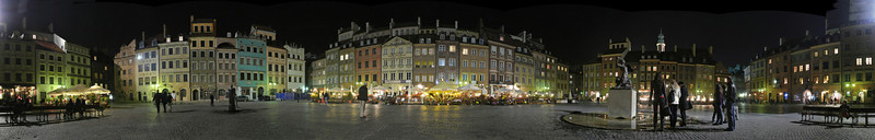 Stitched Panorama of Old town at night.