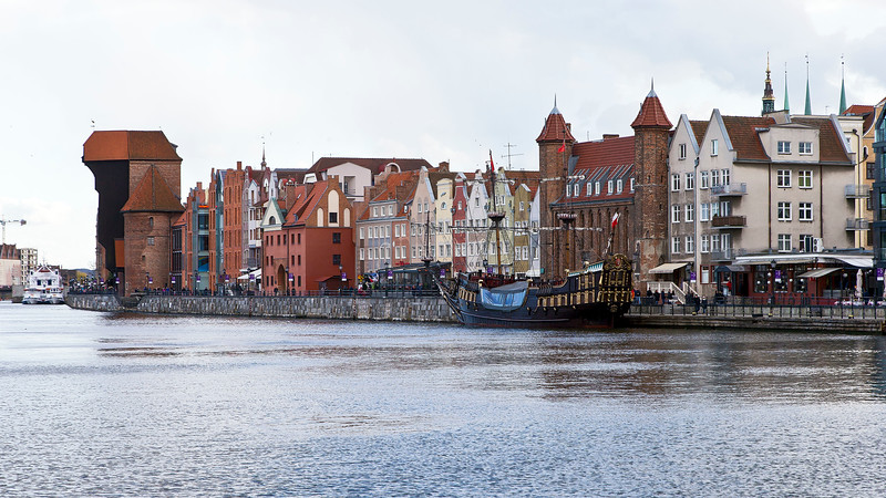 The oldest preserved port crane in Europe, built in the years 1442 - 1444. Gdansk, Poland