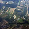 Descending to  Warsaw. Note the little strips of farm land.