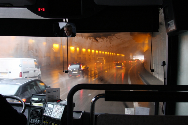 tunnel in the rain on the way to CDG