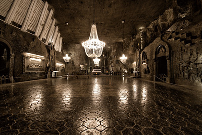 St. Kinga's Chapel  101 m underground was started in 1896 and it is a masterpiece carved in rock salt by the Wieliczka miners sculptors.