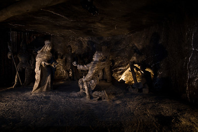"""The Janowice Chamber, worked in the first half of the 17th century is the set of rock salt sculptures,"""" The Great Legend"""", shows the moment of discovery of the ring, which according to the legend, traveled with salt from Hungary to Poland."""