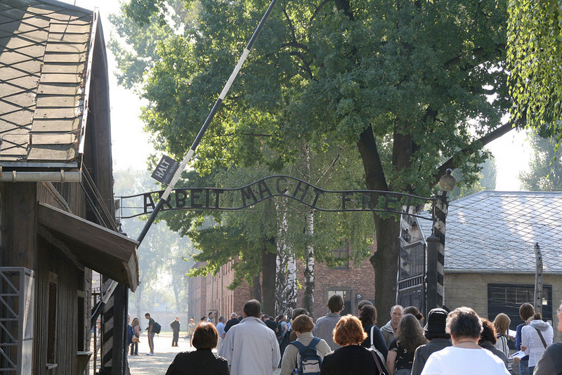 "Auschwitz concentration camp entrance gate with its inscription ""ARBEIT MACH FREI'"