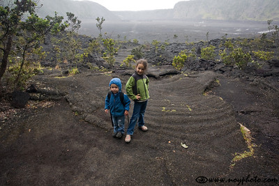 My proud children after they hiked across Kilauea Iki crater (in the drizzle)