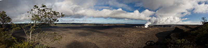 Panorama of the vast Kilauea caldera with Halema'uma'u crater-within-a-crater to the right side