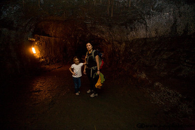 Inside the Thurston Lava Tube; this is an actual old lava tube tunnel that you can hike through in the Hawaii Volcanoes National Park